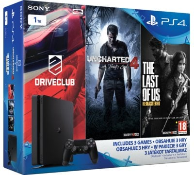 Konsola SONY PlayStation 4 Slim 1TB D Chassis + DriveClub + Uncharted 4: Kres Złodzieja + The Last of Us Remastered
